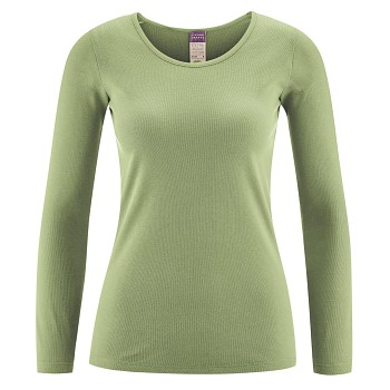 JOHANNA dámský top s dlouhými rukávy ze 100% biobavlny - zelená pistachio