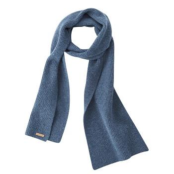 JENA unisex teplá pletená šála ze 100% bio vlny - modrá mid