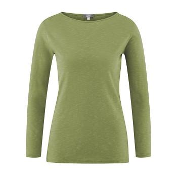 HILLA Dámské tričko s dlouhými rukávy ze 100% biobavlny - zelená avocado