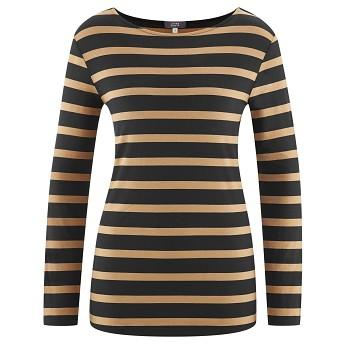HILLARY Dámské tričko s dlouhými rukávy z modalového a sojového vlákna - černá/béžová camel (proužek)