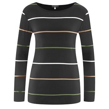 HILLARY Dámské tričko s dlouhými rukávy z modalového a sojového vlákna - černá (proužek)