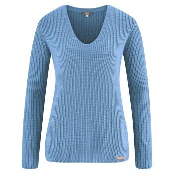 HORTENSE Dámský svetr z bio vlny a biobavlny - světle modrá sweet lavender