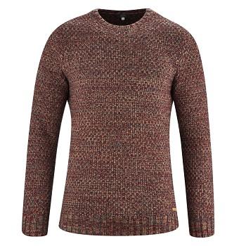 JÖRN Pánský svetr z bio vlny a biobavlny - červenošedá rosso/graphite melange