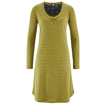DIANA Dámská noční košile s dlouhými rukávy ze 100% biobavlny - pruhovaná modrá navy/žlutá brass