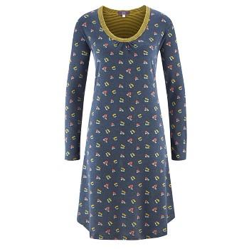 DIANA Dámská noční košile s dlouhými rukávy ze 100% biobavlny - modrý vzor autumn berries