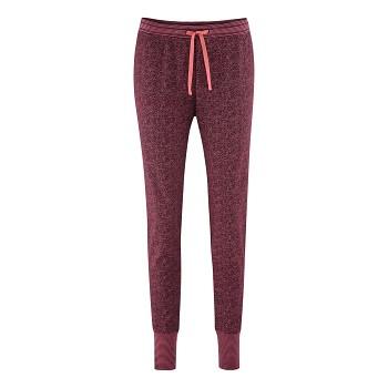 AVELINE dámské pyžamové kalhoty ze 100% biobavlny - červená barolo (puntíky)