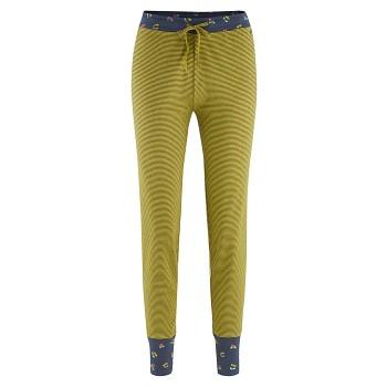 AVELINE dámské pyžamové kalhoty ze 100% biobavlny - pruhovaná modrá navy/žlutá brass