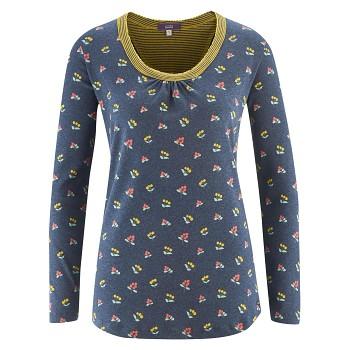 HAILY dámský pyžamový top s dlouhými rukávy ze 100% biobavlny - modrý vzor autumn berries