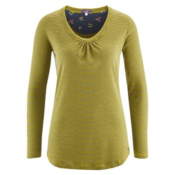 HAILY dámský pyžamový top s dlouhými rukávy ze 100% biobavlny - pruhovaná modrá navy/žlutá brass