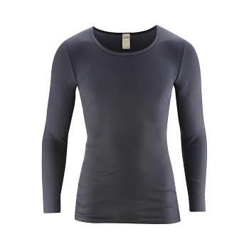JOHAN Pánské tričko s dlouhými rukávy ze 100% biobavlny - šedomodrá navy graphite