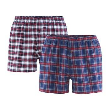BORIS pánské boxerky ze 100% biobavlny - modrá/červená tartan (2 ks)