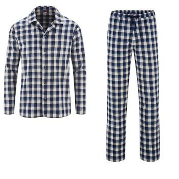 JEREMY pánské klasické pyžamo ze 100% biobavlny - modrá navy/šedá