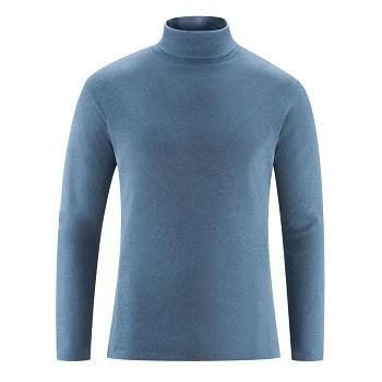 HELGE Pánské rolákové tričko ze 100% biobavlny - modrá indigo melange