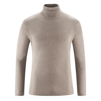 HELGE Pánské rolákové tričko ze 100% biobavlny - béžová taupe melange