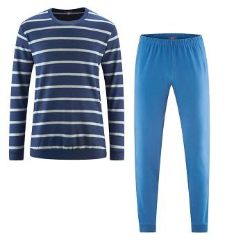 BOB pánské pyžamo ze 100% biobavlny - modrá pruhovaná navy/denim