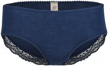 Dámské kalhotky s krajkou z merino vlny a hedvábí - tmavě modrá navy