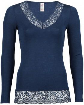 Dámské triko s dlouhými rukávy s krajkou z bio merino vlny a hedvábí - modrá navy