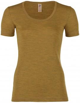 Dámské sportovní tričko s krátkými rukávy ze 100% bio merino vlny  - žlutá šafrán