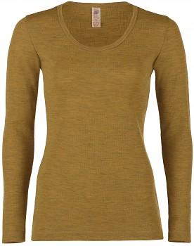 Dámské sportovní tričko s dlouhými rukávy ze 100% bio merino vlny  - žlutá šafrán