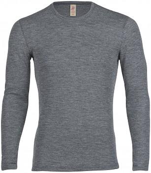 Pánské  triko s dlouhými rukávy ze 100% bio merino vlny - šedá melange