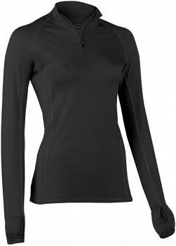 Dámské běžecké tričko s dlouhými rukávy z bio merino vlny a hedvábí - černá