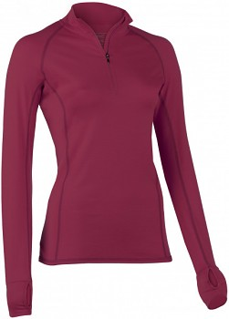 Dámské běžecké tričko s dlouhými rukávy z bio merino vlny a hedvábí - červená tango
