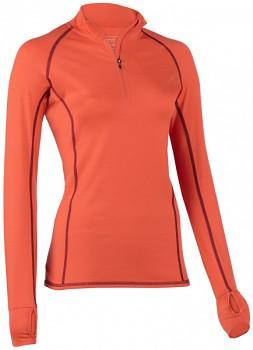 Dámské běžecké tričko s dlouhými rukávy z bio merino vlny a hedvábí - oranžová spicy