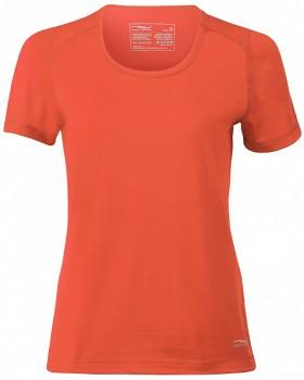 Dámské tričko s krátkými rukávy z bio merino vlny a hedvábí - oranžová spicy