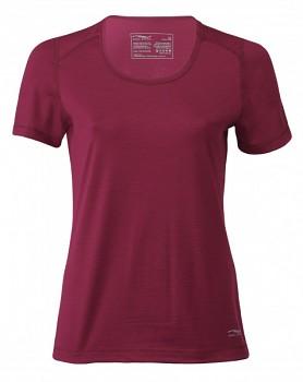 Dámské tričko s krátkými rukávy z bio merino vlny a hedvábí - červená tango