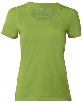 Dámské tričko s krátkými rukávy z bio merino vlny a hedvábí - zelená lime