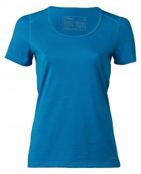 Dámské tričko s krátkými rukávy z bio merino vlny a hedvábí - modrá sky