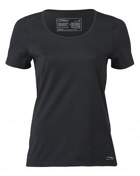 Dámské tričko s krátkými rukávy z bio merino vlny a hedvábí - černá