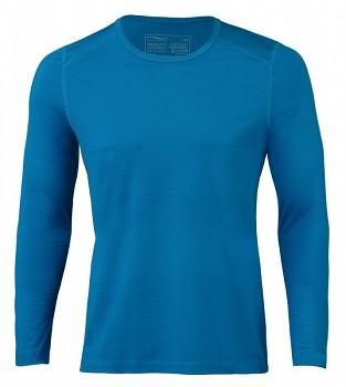 Pánské sportovní tričko s dl. rukávy z bio merino vlny a hedvábí - modrá sky