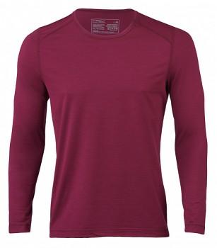 Pánské sportovní tričko s dl. rukávy z bio merino vlny a hedvábí - červená tango