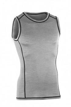 Pánské sportovní tričko bez rukávů z bio merino vlny a hedvábí - šedá silver stone
