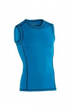 Pánské sportovní tričko bez rukávů z bio merino vlny a hedvábí - modrá sky