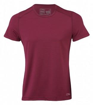 Pánské sportovní tričko s kr. rukávy z bio merino vlny a hedvábí - červená tango