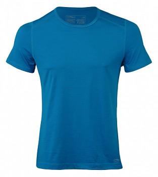 Pánské sportovní tričko s kr. rukávy z bio merino vlny a hedvábí -  modrá sky