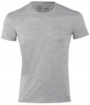 Pánské sportovní tričko s kr. rukávy z bio merino vlny a hedvábí -  šedá silver stone