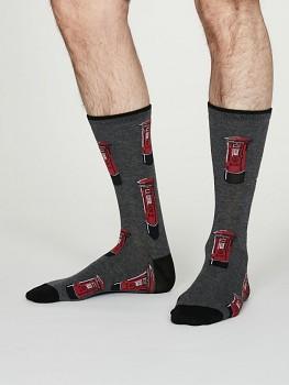 LONDON POSTBOX Pánské ponožky z bambusu a biobavlny - tmavě šedá