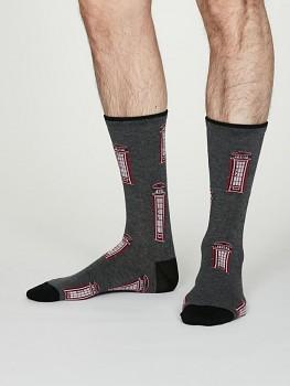LONDON PHONEBOX Pánské ponožky z bambusu a biobavlny - tmavě šedá