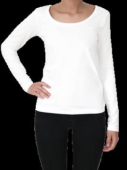 Albero dámský top s dlouhými rukávy z biobavlny - bílá