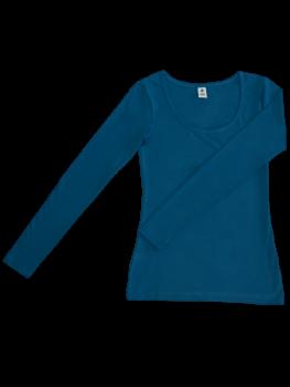 Albero dámský top s dlouhými rukávy z biobavlny - modrá petrol