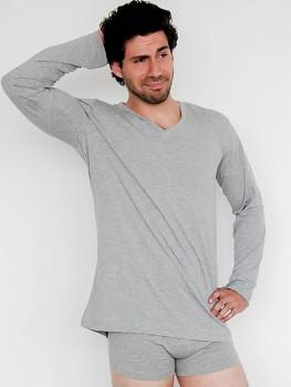 Albero pánské tričko s dlouhými rukávy a výstřihem do V ze 100% biobavlny - šedá