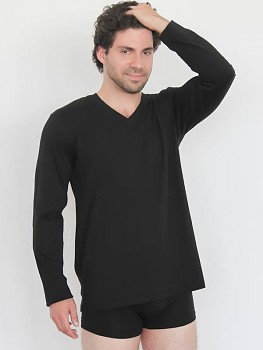 Albero pánské tričko s dlouhými rukávy a výstřihem do V ze 100% biobavlny - černá