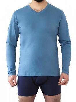 Albero pánské tričko s dlouhými rukávy a výstřihem do V ze 100% biobavlny - modrá denim
