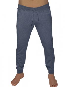Albero pánské teplákové kalhoty z biobavlny - modrošedá navy melange