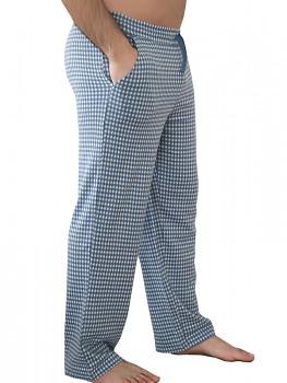 Albero pánské pyžamové kalhoty ze 100% biobavlny - modrobílá kostka