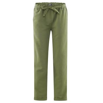 GILL dámské kalhoty z bio lnu a bio bavlny - zelená fern