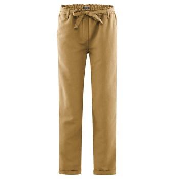 GILL dámské kalhoty z bio lnu a bio bavlny - hnědá tobacco